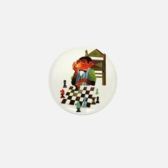Monkey Playing Chess Mini Button