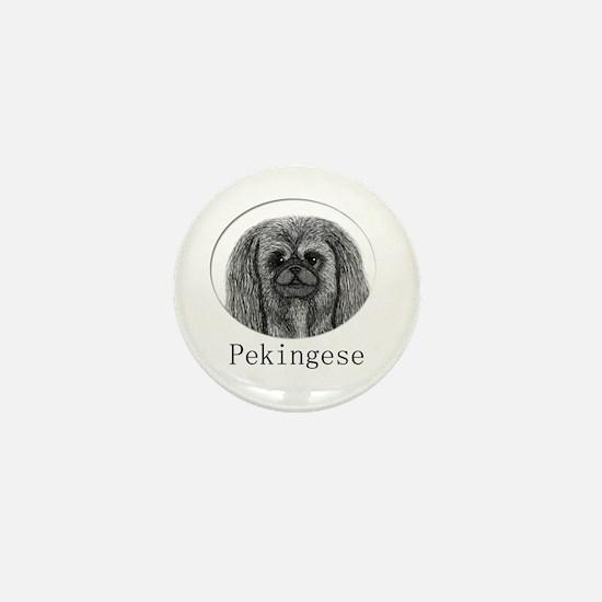 Pekingese Ink Drawing Mini Button