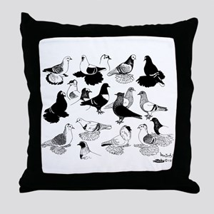 Saxon Color Pigeons Throw Pillow