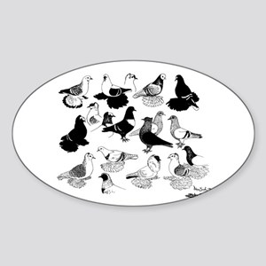 Saxon Color Pigeons Oval Sticker