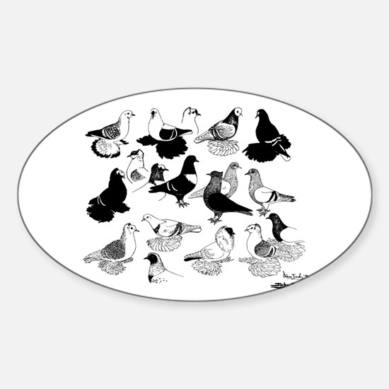 Saxon Color Pigeons Oval Decal
