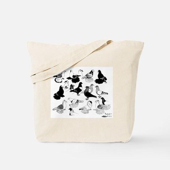 Saxon Color Pigeons Tote Bag