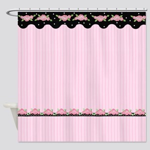Floral Stripe Roses - Pink Shower Curtain
