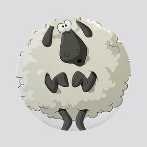 Funny Cartoon Sheep Ornament (Round)