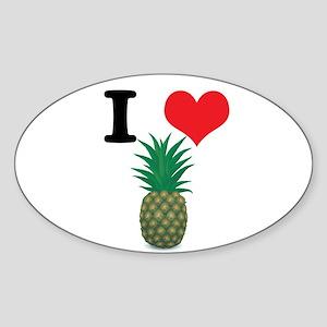 I Heart (Love) Pineapple Oval Sticker