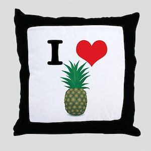 I Heart (Love) Pineapple Throw Pillow