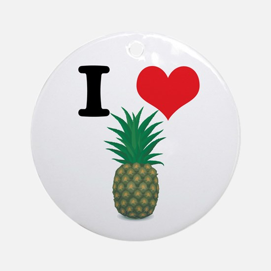 I Heart (Love) Pineapple Ornament (Round)