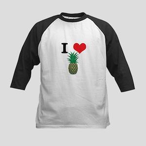 I Heart (Love) Pineapple Kids Baseball Jersey