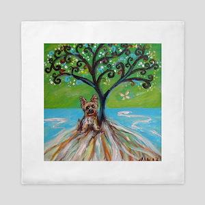 Yorkie spritual tree Queen Duvet
