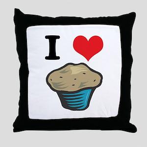 I Heart (Love) Muffins Throw Pillow