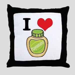 I Heart (Love) Mayonnaise (Mayo) Throw Pillow