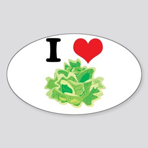 I Heart (Love) Lettuce Oval Sticker