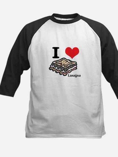 I Heart (Love) Lasagna Kids Baseball Jersey