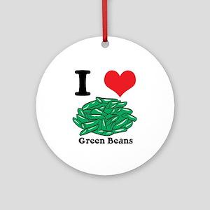 I Heart (Love) Green Beans Ornament (Round)