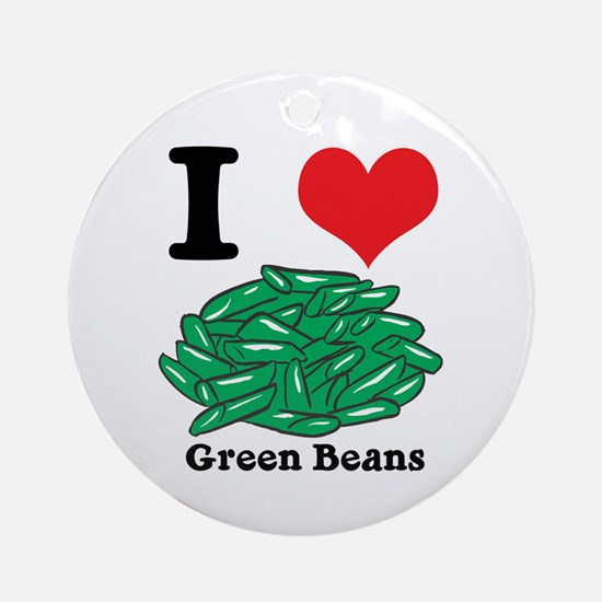 I Heart (Love) Green Beans Ornament (Round)