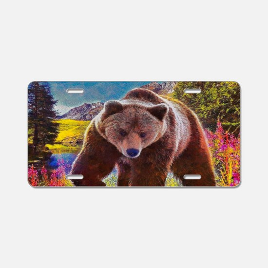 Grizzly Bear Territory Aluminum License Plate