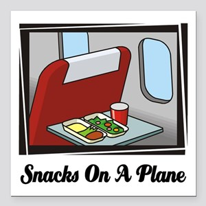 """Snacks On A Plane Square Car Magnet 3"""" x 3"""""""