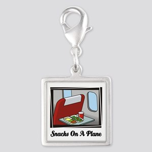 Snacks On A Plane Silver Square Charm