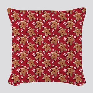 Gingerbread Men Cookies Candies Woven Throw Pillow