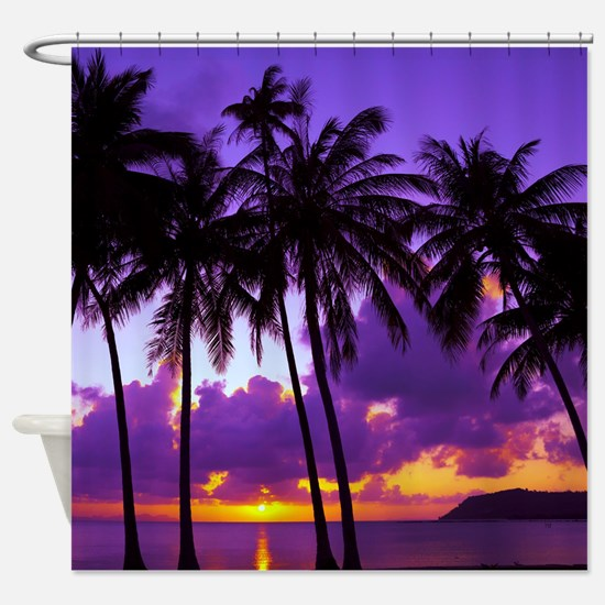 Purple Tropical Sunset 3 Shower Curtain