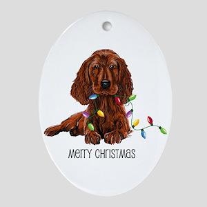 Christmas Irish Setter Oval Ornament