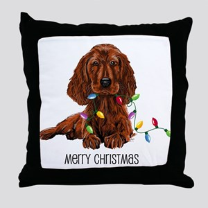 Christmas Irish Setter Throw Pillow