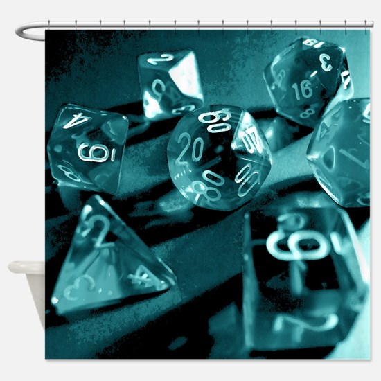 Blue Gaming Dice Shower Curtain