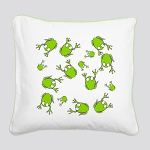 Little Green Frogs Square Canvas Pillow
