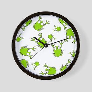 Little Green Frogs Wall Clock