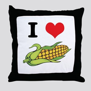 I Heart (Love) Corn (On the Cob) Throw Pillow
