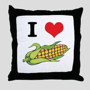 I Heart (Love) Corn (On the Cob) Throw Pillow