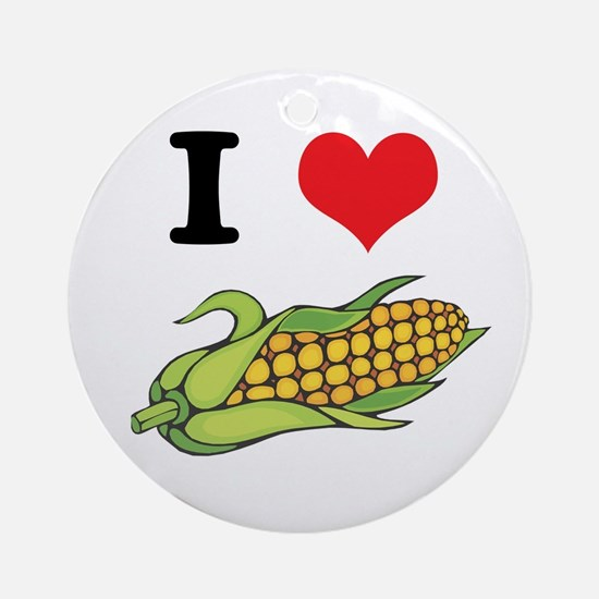 I Heart (Love) Corn (On the Cob) Ornament (Round)