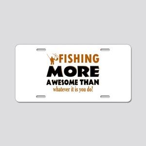 Awesome Fishing Designs Aluminum License Plate