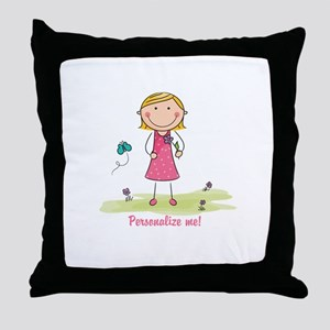 Cute girl - personalize Throw Pillow