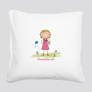 Cute girl - personalize Square Canvas Pillow