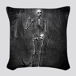 Skeleton Grim Reaper Woven Throw Pillow