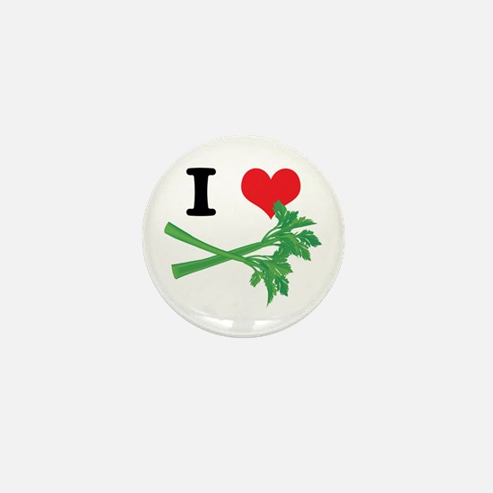 I Heart (Love) Celery Mini Button