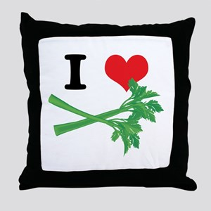 I Heart (Love) Celery Throw Pillow