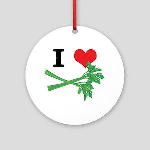 I Heart (Love) Celery Ornament (Round)