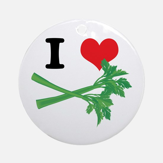 I Heart (Love) Celery Ornament (Round)