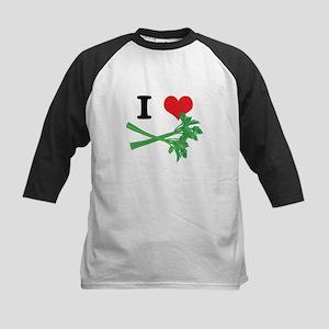 I Heart (Love) Celery Kids Baseball Jersey