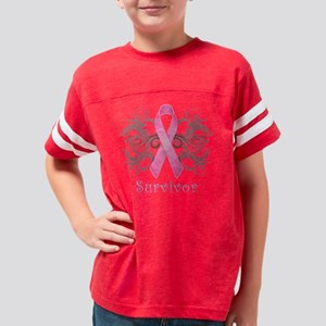 PinkCancerSurvivorDark Youth Football Shirt