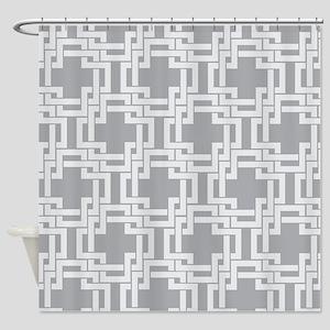 Art Deco Gray Geometric Vintage Shower Curtain