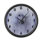 Standard Poodle (White) Large Wall Clock
