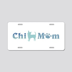 Chi Mom Blue and Teal Aluminum License Plate