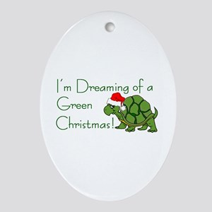 Dreaming of a Green Xmas Ornament (Oval)