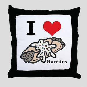 I Heart (Love) Burritos Throw Pillow