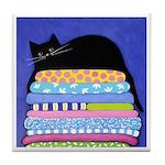 Black CAT On Quilts BLUE ART Tile