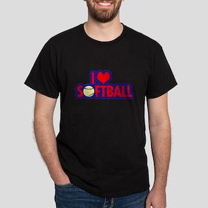 I Love Softball Dark T-Shirt
