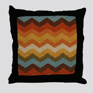 Southwestern Burlap Chevron Zigzags Throw Pillow